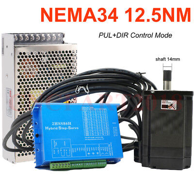 NEMA34 12.5NM Stepper Motor Closed-loop Hybrid Servo Driver Kit & Power Supply