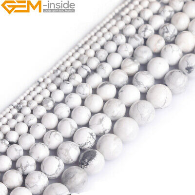 "Natural Gemstone White Howlite Turquoise Round Beads For Jewellery Making 15"" UK"