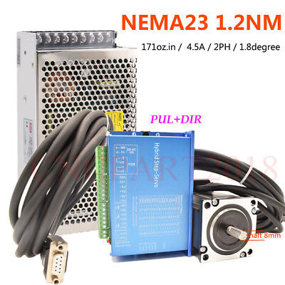 Nema23 Closed Loop 1.2NM Hybrid Stepper Motor Servo Driver 4.5A 2ph Power Supply