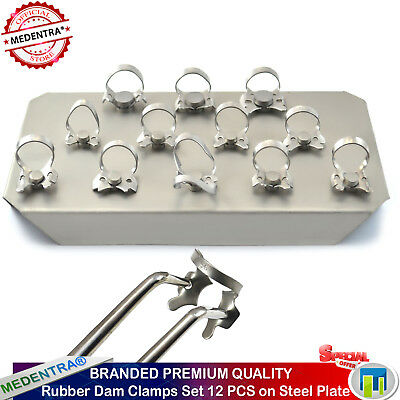 Rubber Dam Clamps Set Of 12 on Steel Plate Dental Dams Instruments Ivory Clamp