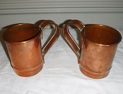 Antique Heavy Duty Pair Of Superior Quality Copper Tankards 1 Pint Size Approx