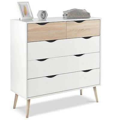 VonHaus Chest of Drawers Scandinavian Nordic Style - White and Light Oak Effect
