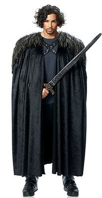 Mens Medieval King Renaissance Game Of Thrones Lord Aragorn Costume Cape W/ Fur