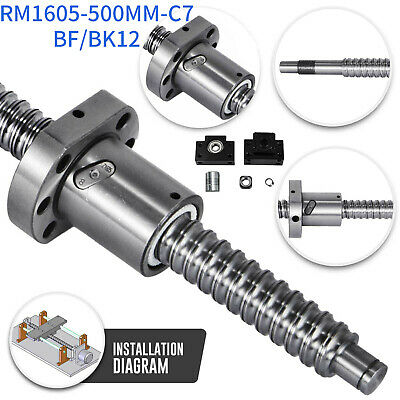 Anti Backlash Ballscrew RM1605-500mm-C7 +BK/BF12 End Support +6.35*10mm Coupler