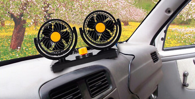 Portable 24/12V Car Air Conditioner Auto Dash 360° Dual Gears Cooling Fan Cooler