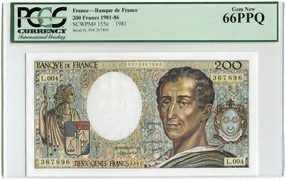 France 200 Francs - 1981 First year P155a - Unc PCGS 66 - Montesquieu - Not PMG