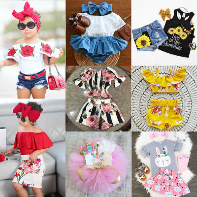 USA Canis Toddler Kids Baby Girls Flower Off Shoulder Tops Pants Skirts Outfits