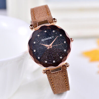 Elegant Fashion Women Starry Sky Quartz Wrist Watch Leather Strap Bracelet Gift