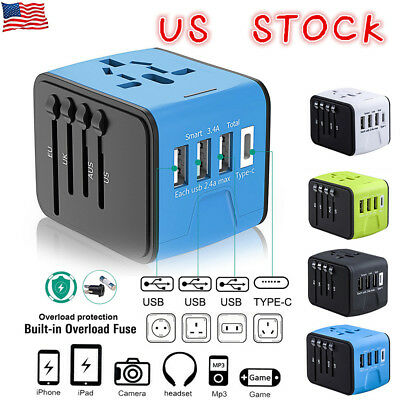 US Universal International Travel Charger Adapter Plug Converter USB PORT Power
