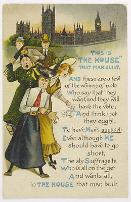 "SUFFRAGETTE ""This Is The House That Man Built"" Votes For Women Pre 1910 No: E19"