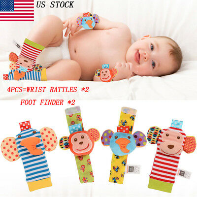 Baby Wrist Rattle Foot Finder Set 4pcs Developmental Soft Toy Infant Baby Animal