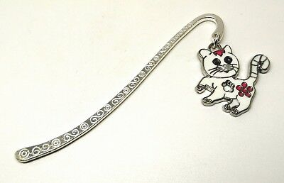 White Cat Enamel Charm Bookmark