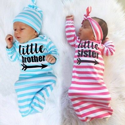 Newborn Babys Kids Girl Sister Brothers Home Soft Sleepwear outfit Set Baby Gown
