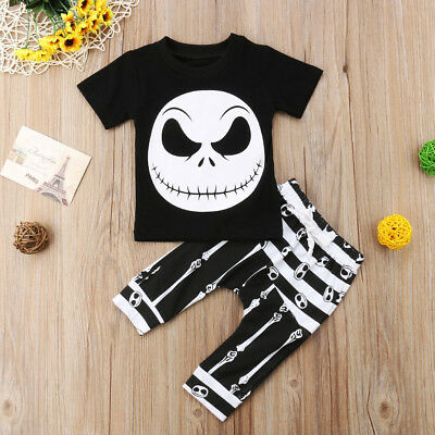 AU Stock Halloween Toddler Baby Boys Ghost T-shirt Tops Harem Pants Outfits Set