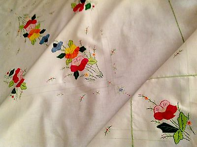 Vintage Hand Embroidered WHITE Cotton APPLIQUÉ Table Cloth 48x48 Inches