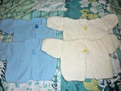 TWIN BOYS :) newborn hand knitted cardigans 2 blue and 2 cream new