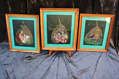 3 Vintage Indian Art Painted On Skeleton  Weathered Leaves Framed Ready To Hang