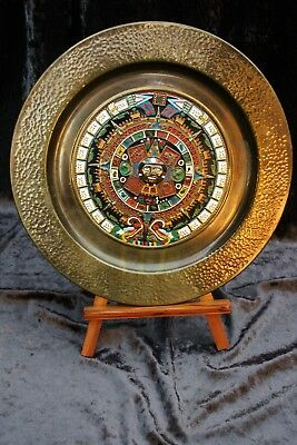 High Quality Souvenir Aztec Hand Beaten And Enameled Copper  Display Plate