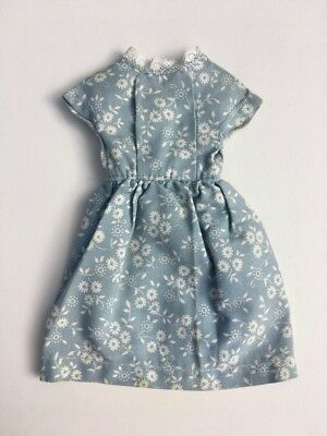 Vintage pale blue white floral day dress button fit Barbie Sindy doll SHIMMYSHIM