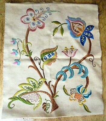 Vintage hand embroidered floral picture panel Jacobean crewel work