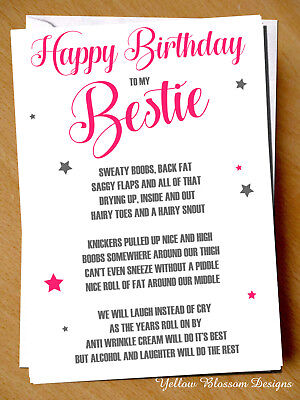 funny cheeky happy birthday card best friend bestie novelty girlie