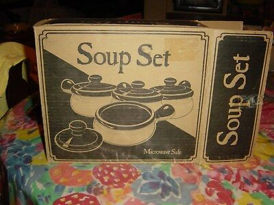 Set Of 4 Vtg.french Onion Soup Crocks~Nos~Nib!!