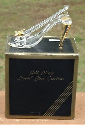 Unique Hand Crafted Gold Plated Crystal Glass Creations - Shoe Figurine