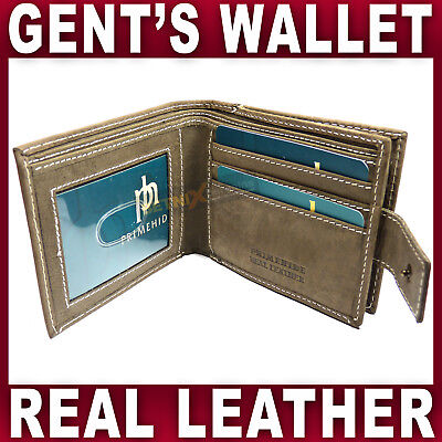 e0b0c017f263 REAL LEATHER WALLET distressed BROWN card ID coin holder GENTS MENS fathers  day