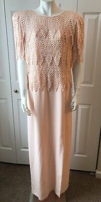 CATTIVA New York Formal Gown Long Dress Lace Overlay Vintage Sz 14 Peach Pretty