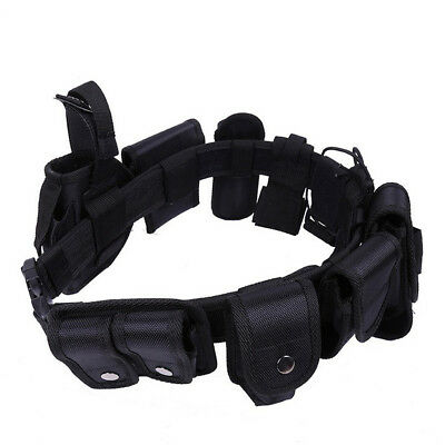 Police Guard Tactical Belts Buckles 9 Pouches Utility Kit Security System UK
