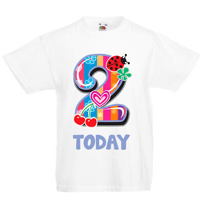 9c05bd69 Kids Fun Number 2 Today T Shirt - Two Second Birthday Party 2nd Gift Top  Girls