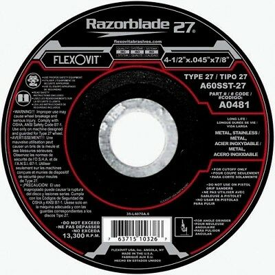 FLEXOVIT 4-1/2 X .045 X 7/8 RAZORBLADE TYPE 27 CUTOFF DISC/WHEEL A0481 Qty 1