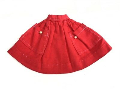 Late 50s early 60s gathered red skirt pearl fit Barbie Sindy doll SHIMMYSHIM