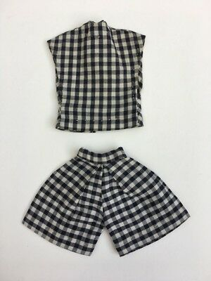 Black white check shorts top early 60s set out fit Barbie Sindy doll SHIMMYSHIM