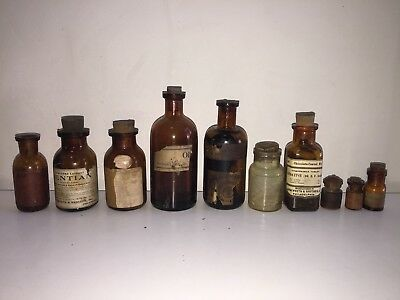 Lot of 10 Antique Medicine/ Poison Bottles w/ Paper Labels - Oddities Quackery