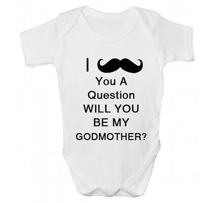Funny Will You Be My Godmother Goddaughter Christening Baby Grow Vest Gift