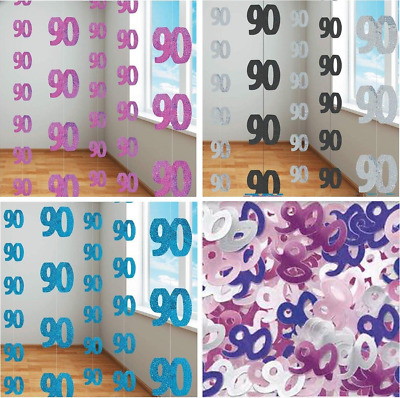90th Birthday Decorations Hanging String Ceiling Party Room Wall Confetti Banner
