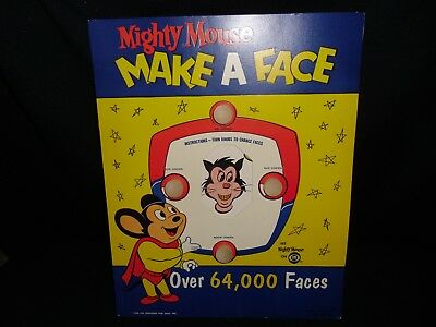 Mighty Mouse Make A Face Kellogg or Post Cereal Premium...1960s new old stock!