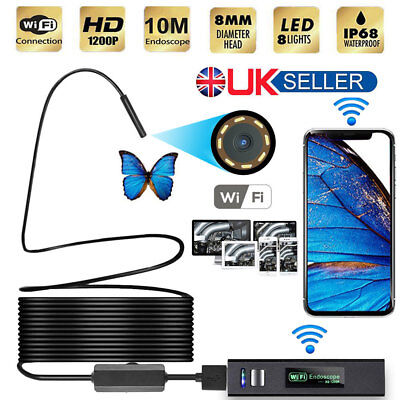 1200P HD Wifi Endoscope Borescope Inspection 8 LED Snake Camera Waterproof IP68