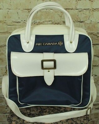 Vintage 60-70's Air Canada Travel Airline Bag White/blue Nwot! Never Used! Mint!