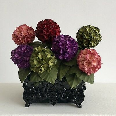 Dollhouse Miniature Mixed Hydrangeas in French Planter Artist Made