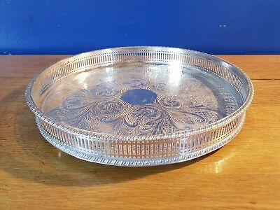 An Elegant Vintage Silver Plated On Copper Gallery Tray Made In Sheffield.ornate