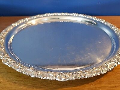 A Very Elegant Vintage Silver Plated Tray With Decorated Patterns.ornate.