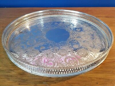 An Elegant Vintage Chased Silver Plated Gallery Tray By Viners.sheffield.ornate.