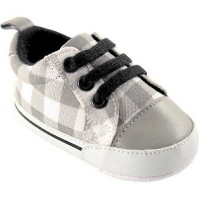 Luvable Friends Baby Boy Basic Canvas Sneakers Grey Plaid 12-18 Months