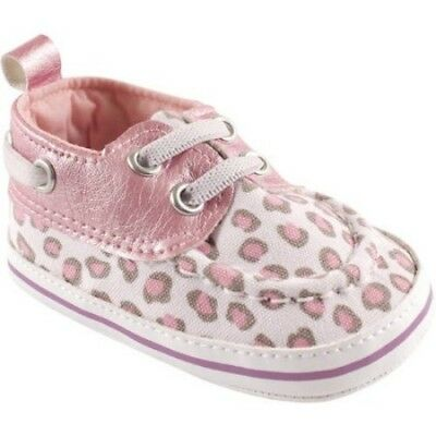 Luvable Friends Newborn Baby Girls Boat Shoes Pink Leopard 6-12 Months