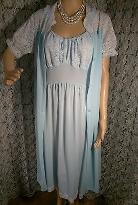 PHILMAID Peignoir Set Baby Blue Nylon Floral Lace  Nightgown and Robe Size 36/38