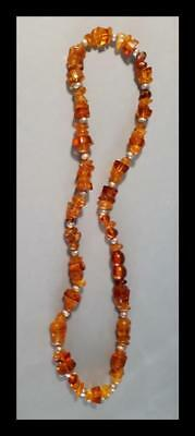 ANTIQUE NATURAL  BUTTERSCOTCH EGG YOLK 41 Grs BALTIC AMBER HONEY BEADS NECKLACE