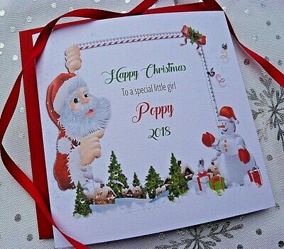 Personalised Baby/'s First Christmas Card.Son Daughter Niece Nephew Grandchildetc