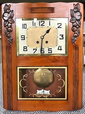 Antique Art Deco French Wooden Wall clock with Pendulum-working but without key
